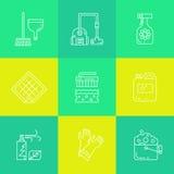 Ícones das fontes da limpeza e do agregado familiar Fotos de Stock