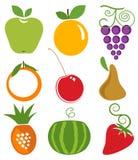 Ícones das frutas Fotos de Stock