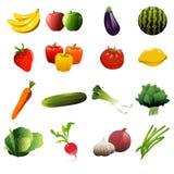 Ícones das frutas e legumes Fotos de Stock