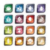 Ícones das frutas e legumes Imagem de Stock