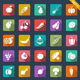 Ícones das frutas e legumes - projeto liso ilustração do vetor