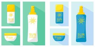 Ícones das garrafas ajustados com proteção solar O vetor isola-se em um fundo branco ao estilo de liso, grande para o design web ilustração do vetor