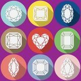 Ícones das gemas do vetor ajustados Fotografia de Stock