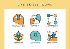 Ícones das habilidades da vida ilustração stock