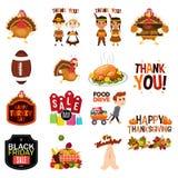 Ícones das ilustrações de Cliparts da ação de graças Foto de Stock Royalty Free