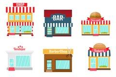 Ícones das lojas ajustados no estilo liso do projeto Loja-mercado, padaria, barra o Imagem de Stock