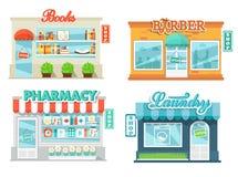 Ícones das lojas e das lojas ajustados Fotos de Stock Royalty Free