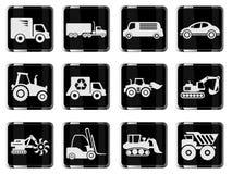 Ícones das máquinas do transporte e de carga Fotos de Stock Royalty Free