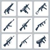 Ícones das metralhadoras e das espingardas de assalto do vetor ajustados Imagens de Stock
