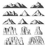Ícones das montanhas e dos penhascos ilustração royalty free