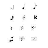 Ícones das notas musicais ajustados Foto de Stock