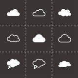 Ícones das nuvens pretas do vetor ajustados Imagem de Stock