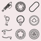 Ícones das peças da motocicleta ajustados Ilustração do vetor Fotografia de Stock Royalty Free
