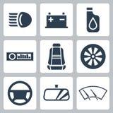 Ícones das peças de automóvel do vetor ajustados Foto de Stock Royalty Free