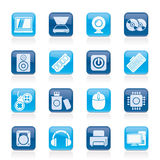 Ícones das peças e dos dispositivos do computador Imagens de Stock