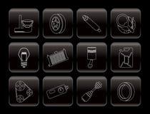 Ícones das peças e dos serviços do carro Foto de Stock Royalty Free