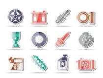 Ícones das peças e dos serviços do carro Fotos de Stock