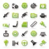 Ícones das peças e dos serviços do carro Fotografia de Stock Royalty Free