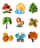 Ícones das plantas e dos animais Fotografia de Stock Royalty Free