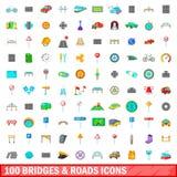 100 ícones das pontes e das estradas ajustaram-se, estilo dos desenhos animados Fotografia de Stock
