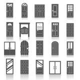Ícones das portas da rua da entrada ajustados Fotos de Stock