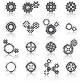 Ícones das rodas e das engrenagens das rodas denteadas ajustados ilustração stock