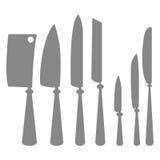Ícones das silhuetas das facas de cozinha isoladas Ilustração Royalty Free