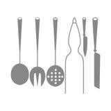 Ícones das silhuetas dos elementos da cozinha isolados Ilustração do Vetor