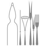 Ícones das silhuetas dos elementos da cozinha isolados Ilustração Royalty Free