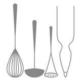 Ícones das silhuetas dos elementos da cozinha isolados Ilustração Stock