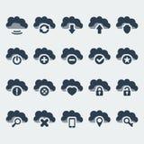 Ícones das tecnologias da nuvem do vetor ajustados Fotos de Stock