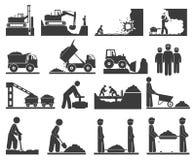 Ícones das terraplenagens do onstruction do ¡ de Ð que minam e que quarrying o carvão, óleo ilustração royalty free