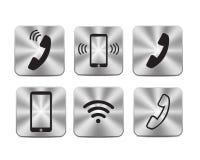 Ícones de aço metálicos de uma comunicação ilustração royalty free