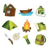 Ícones de acampamento ilustração do vetor