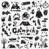 Ícones de acampamento ajustados ilustração royalty free