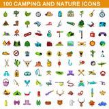 100 ícones de acampamento ajustados, estilo dos desenhos animados ilustração stock