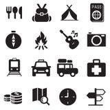 Ícones de acampamento de viagem da descoberta Ilustração Stock