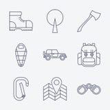 Ícones de acampamento do curso do esboço Imagem de Stock Royalty Free