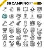 Ícones de acampamento do esboço Fotos de Stock
