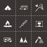 Ícones de acampamento do preto do vetor ajustados Fotografia de Stock Royalty Free