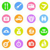 Ícones de acampamento em círculos de cor Fotografia de Stock