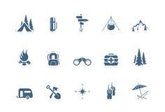 Ícones de acampamento | série de flautim Imagens de Stock Royalty Free