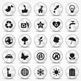 Ícones de alumínio da ecologia ajustados. Símbolos do ambiente Fotografia de Stock Royalty Free