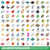100 ícones de anúncio ajustados, estilo 3d isométrico Fotos de Stock Royalty Free