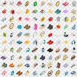 100 ícones de anúncio ajustados, estilo 3d isométrico Imagens de Stock Royalty Free