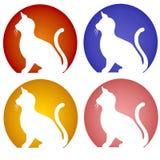 Ícones de assento da silhueta do gato Imagens de Stock Royalty Free