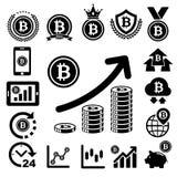 Ícones de Bitcoin ajustados ilustração do vetor