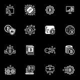 Ícones de Bitcoin e de Blockchain Cryptocurrency Foto de Stock