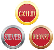 Ícones de bronze de prata do ouro Foto de Stock