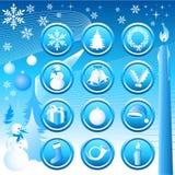 Ícones de Chistmas ajustados Imagens de Stock